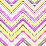 Seamless ethnic pattern drawn by hand. Black, white, yellow and. Pink vector illustration. Chevron ornament, zigzag Stock Image