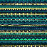 Seamless ethnic pattern drawn by hand. Multicolored geometric elements. Print for textiles with horizontal stripes. royalty free illustration