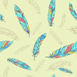 Seamless ethnic pattern with feathers. Stock Image