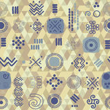 Seamless ethnic pattern on geometrical background Royalty Free Stock Images