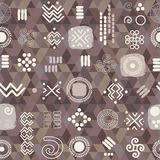 Seamless ethnic pattern on geometrical background Royalty Free Stock Photos