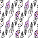 Seamless ethnic pattern with hand drawn cute feathers. Vector background. Use for wallpaper, textile, pattern fills, packaging des Royalty Free Stock Photo