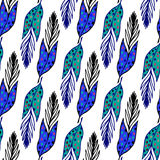 Seamless ethnic pattern with hand drawn feathers. Endless background. Ethnic seamless pattern. Vector backdrop. Summer template. U Royalty Free Stock Images