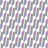 Seamless ethnic pattern with hand drawn feathers in pastel colors. Vector background. Use for wallpaper, textile, pattern fills, p Stock Photo