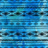 Seamless ethnic pattern. Hand drawn ornament. Blue and black vec. Tor illustration. Texture Royalty Free Stock Images