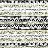 Seamless ethnic pattern handmade. Black and white geometric band. S. Vector illustration Stock Photography