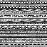 Seamless ethnic pattern. Handmade. Horizontal stripes. Black and vector illustration
