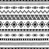 Seamless ethnic pattern. Handmade. Horizontal stripes. Black-and. White print for your textiles. Vector illustration Stock Image