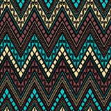 Seamless ethnic pattern. Horizontal lines in the form of a zigza. G. Beige, blue, brown and black colors. Vector illustration vector illustration
