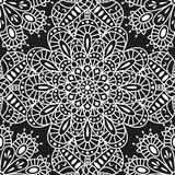 Seamless ethnic pattern with mandala. Arabic floral background. Golden and black colors Royalty Free Stock Photos