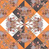 Seamless ethnic pattern in orange, brown, white, black and grey colors with hearts and flowers. Patchwork. Vector illustration. Bandana print stock illustration