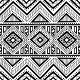 Seamless ethnic pattern. Ornament hand-drawn ink. Tribal motifs. Print for textiles. Black and white vector illustration Stock Photo
