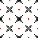Vector seamless Ethnic pattern with red and black flowers on white background. Royalty Free Stock Photos