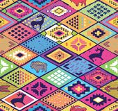 Seamless ethnic pattern with rhombuses, arrows and animals elements. Aztec fancy abstract geometric art. Abstract navajo seamless pattern with rhombuses, arrows Stock Photo
