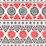 Seamless ethnic pattern. Tribal and aztec. Red, white and black. Colors. Ornament in the doodle style. Print for textiles. Vector illustration Stock Photography