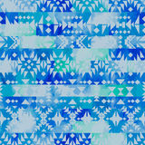 Seamless ethnic pattern on watercolor background. Stock Image