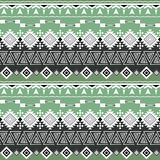Seamless ethnic striped pattern, gray, green background. Retro background Stock Images