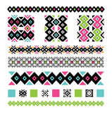 Seamless ethnic tattoo pattern vector pink blue green. Seamless pink, blue, green and black tribal tattoo pattern vector Stock Photography