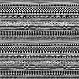 Seamless ethnic and tribal pattern. Handmade. Horizontal stripes. Black-and-white print for your textiles. Vector illustration Stock Photo