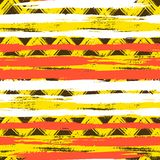 Seamless ethnic zigzag pattern with brushstrokes. Vector seamless ethnic pattern with bold zigzag brushstrokes and stripes in bright colors can be used for print Royalty Free Stock Photo