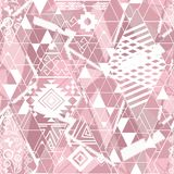 seamless etnisk modell Mjuk rosa färgprydnad på en vit bakgrund Royaltyfria Bilder