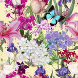 Seamless exotic floral fashion pattern Royalty Free Stock Image