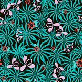 Seamless exotic floral pattern. Seamless exotic pattern with flowers and leaves Royalty Free Stock Photography