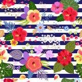 Seamless exotic floral pattern with hibiscus, clematis, nasturtium, rose, poppy, umbrella flowers, viburnum inflorescence royalty free illustration