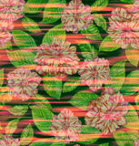 Seamless exotic floral pattern, pink camellias and tropical leav. Seamless floral design with camelias and  tropical leaves, drawn in watercolor by me.the Stock Images