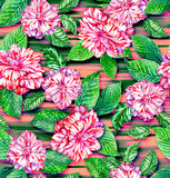 Seamless exotic floral pattern, pink camellias and tropical leav. Very detailed watercolor elements, drawn by me. pink roses and ficus and mint leaves. on Stock Photo