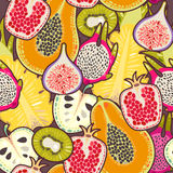 Seamless exotic fruit. Decorative colorful exotic fruit seamless background pattern Stock Images