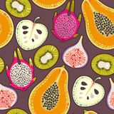 Seamless exotic fruit. Decorative colorful exotic fruit seamless background pattern Royalty Free Stock Photo