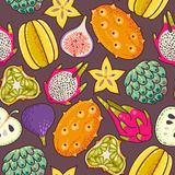 Seamless exotic fruit. Decorative colorful exotic fruit seamless background pattern Stock Photos