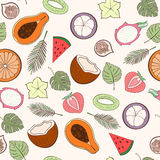 Seamless exotic fruit pattern Stock Photos