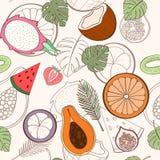 Seamless exotic fruit pattern Royalty Free Stock Photo