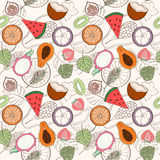 Seamless exotic fruit pattern. Can be used for wallpaper, website background, wrapping paper. Holliday design. Food concept. Vector illustration Stock Photos