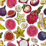 Seamless exotic fruits Royalty Free Stock Image
