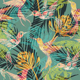 Seamless exotic pattern with abstract palm leaves and colibri. Vector hand draw illustration Stock Photography