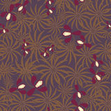 Seamless exotic pattern with orchids flowers and leaves retro Royalty Free Stock Images