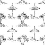 Seamless exotic pattern, outline Royalty Free Stock Image