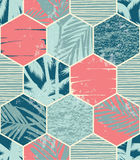 Seamless exotic pattern with palm leaves on geometric background Stock Image
