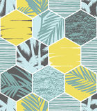 Seamless exotic pattern with palm leaves on geometric background Royalty Free Stock Image