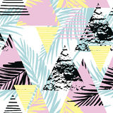 Seamless exotic pattern with palm leaves on geometric background Stock Photography