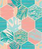Seamless exotic pattern with palm leaves on geometric background Royalty Free Stock Photos