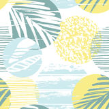 Seamless exotic pattern with palm leaves on geometric background Stock Photos