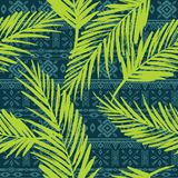 Seamless exotic pattern with palm leaves. Vector hand draw illustration Stock Images
