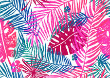 Seamless exotic pattern with pink blue palm leaves on a white background. Vector illustration. Royalty Free Stock Photography