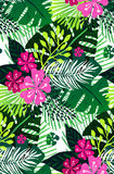 Seamless exotic pattern with pink green palm leaves on white background. Vector illustration. Royalty Free Stock Photos