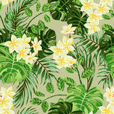 Seamless exotic pattern with tropical leaves and flowers. royalty free illustration