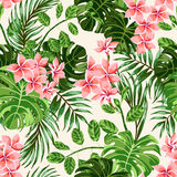 Seamless exotic pattern with tropical leaves and flowers. Stock Photos